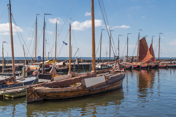 Dutch harbor of Urk with traditional wooden fishing boats