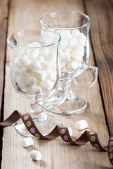 Two glasses of sweet marshmallow
