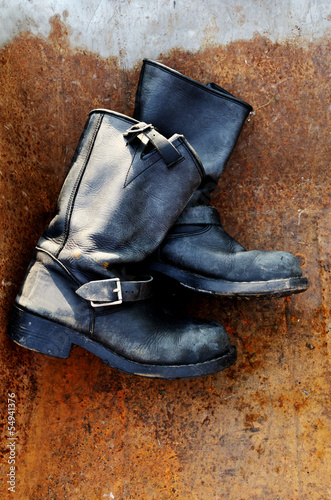 old vintage leather boots