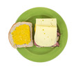 Swiss cheese prosciutto sandwich with mustard