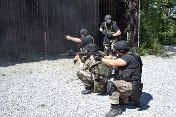 special police unit in training, school
