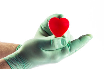 Medical doctor holding heart.  Health insurance concept