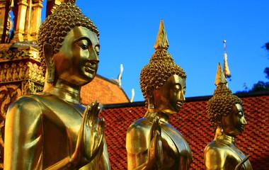 Statues de Bouddha dorées à l'or fin