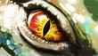 canvas print picture - Eye of lizard