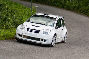 White rally car
