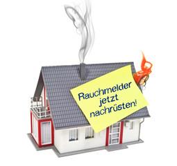 Haus mit Zettel und Rauch und Flamme