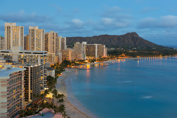 Night view on Honolulu city and Waikiki Beach