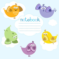 Notebook cover with birds on blue background and place for text.