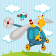 giraffe and bird on a helicopter - illustration vector