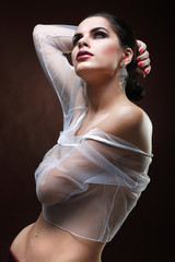 elegant sexual woman in white  clothes in fashion style