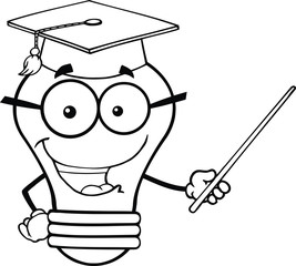 Outlined Smiling Light Bulb Teacher Character With A Pointer