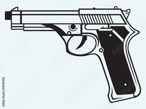 Gun icon isolated on blue background