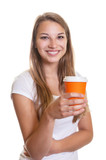 Laughing girl with a cup of coffee