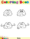 Coloring Book Page Brain Cartoon Character 1