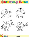 Coloring Book Page Brain Cartoon Character 2