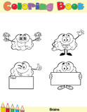 Coloring Book Page Brain Cartoon Character 5