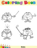 Coloring Book Page Brain Cartoon Character 6