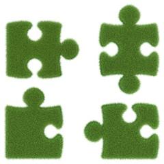 Puzzleteile aus Gras