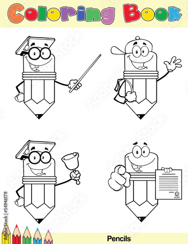 Coloring Book Page Pencil Cartoon Character 4