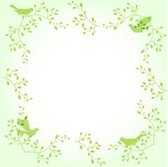 Light green ornamental border with birds