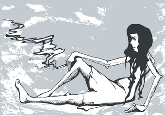 caricature of sadness woman