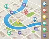 Fototapety city map illustration with location pins