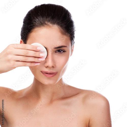 Beautiful Young Woman Touching Her Face.