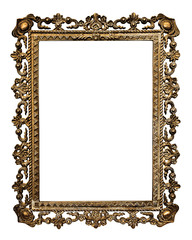Old gold  picture frame, isolated on white background