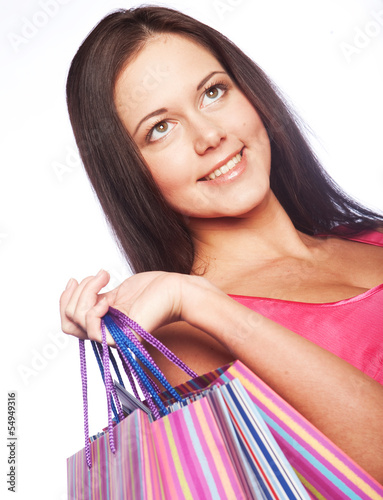shopping woman happy holding shopping bags.