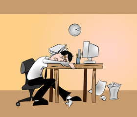 Tired Office Worker in Front of Computer