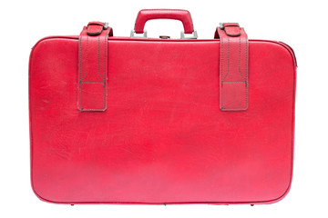 old vintage red suitcase on white background with clipping path