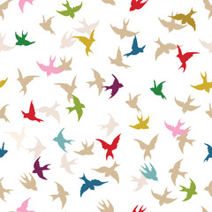 Spring birds seamless pattern