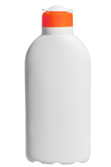 cosmetic bottle in white on a white background