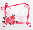 Holiday background with pink roses and ribbons. Vector illustrat