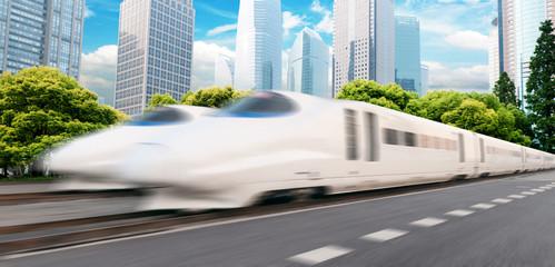 very high-speed train go through shanghai