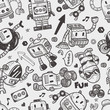 seamless robot pattern, illustrator line tools drawing