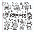 set of doodle robot icons, illustrator line tools drawing.