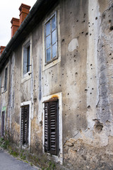 Bullets holes on building in Mostar, Bosnia Herzegovina