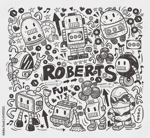 doodle robot element, illustrator line tools drawing