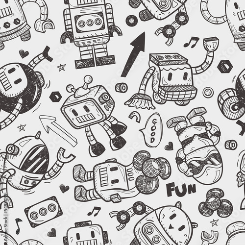 Papier peint seamless robot pattern illustrator line for Effet miroir illustrator