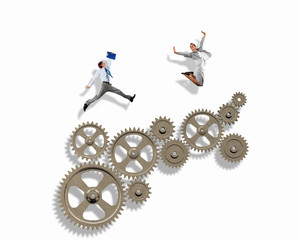 Business people and mechanism elements