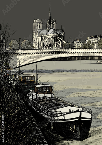 Paris - Ile de la cite - barges - 54951319