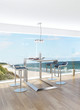Modern interior with dining table and fantastic seascape view