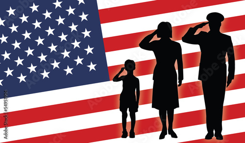 USA soldier family salut