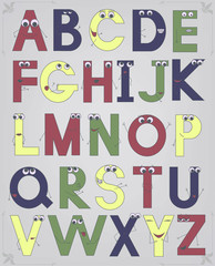 retro latin alphabet
