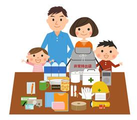 防災用品を準備する家族