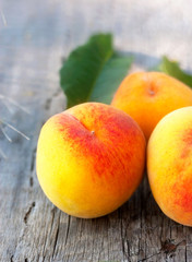summer peach on the wood plank