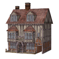 Medieval town house, isolated on the white background