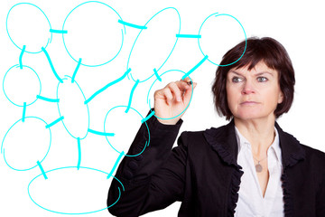 Frau zeigt soziales Netzwerk auf