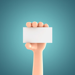 3d render of a hand holding business card